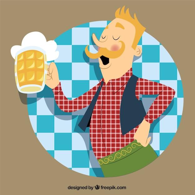 Deutsch mann mit einem krug bier Premium Vektoren