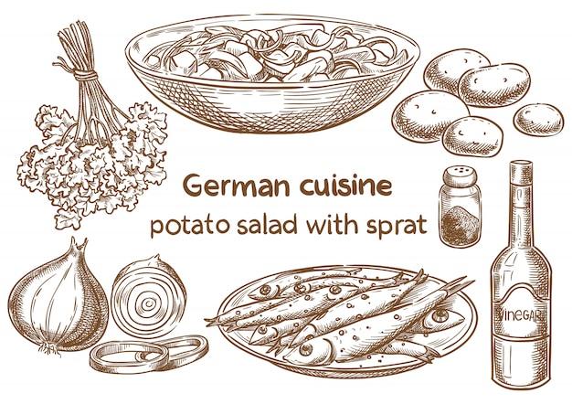 Deutsche küche. Premium Vektoren