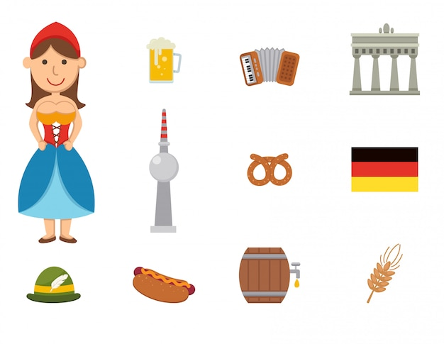 Deutsche symbolvektorsatz Premium Vektoren