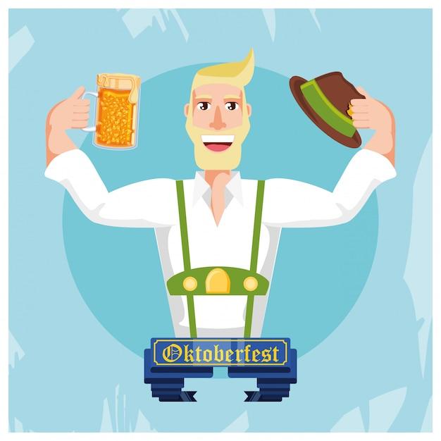 Deutscher mann mit bier oktoberfest feier Premium Vektoren