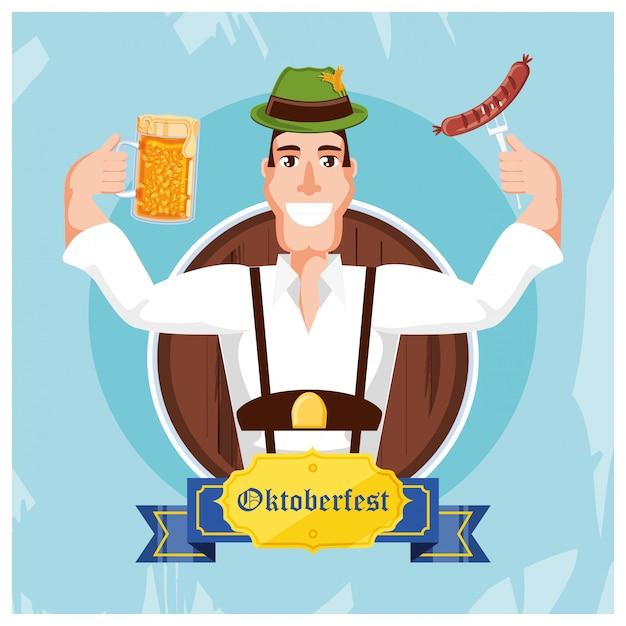 Deutscher mann mit bier und wurst oktoberfest feiern Premium Vektoren