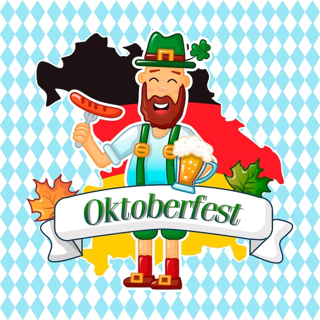 Deutsches mannkonzept oktoberfest, karikaturart Premium Vektoren