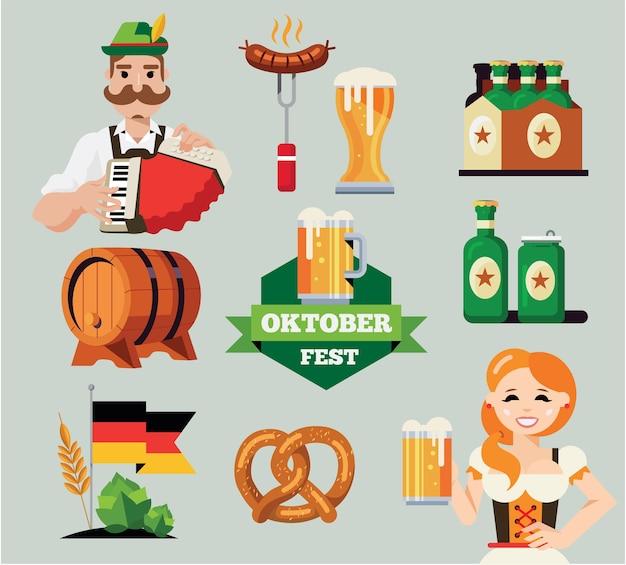 Deutsches oktoberfest set. Premium Vektoren
