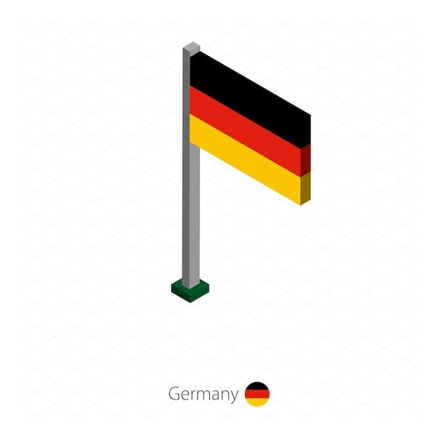Deutschland flagge auf fahnenmast in isometrischer dimension. Premium Vektoren