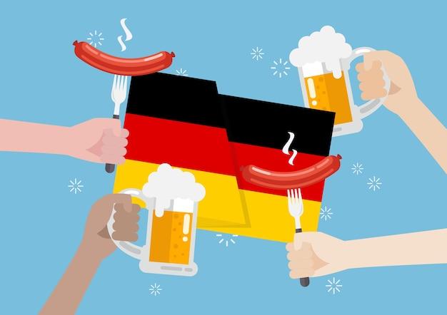 Deutschland flagge mit einem glas bier und wurst Premium Vektoren