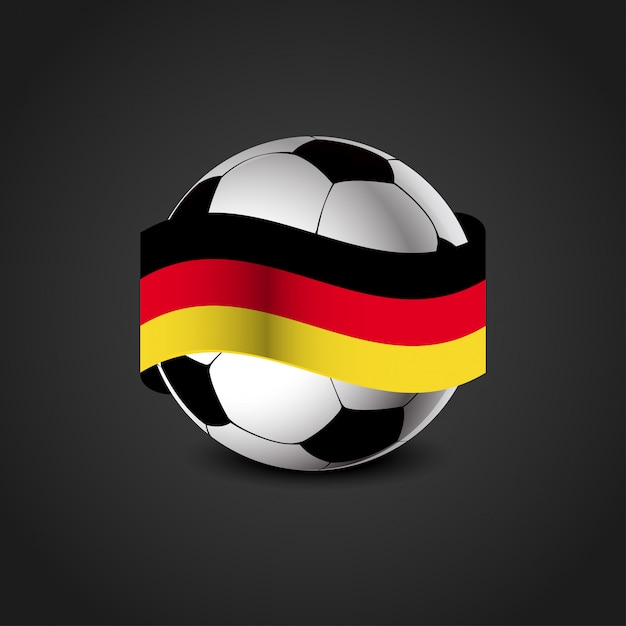 Deutschland Flagge Mit Fussball Vektor Premium Vektor