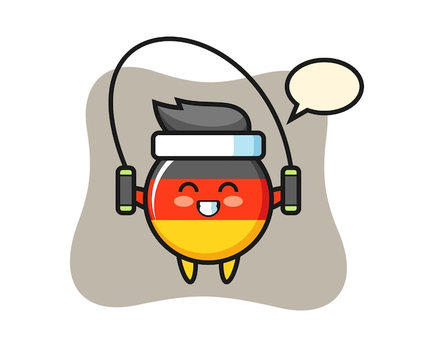 Deutschland-flaggenabzeichen-charakterkarikatur mit springseil Premium Vektoren