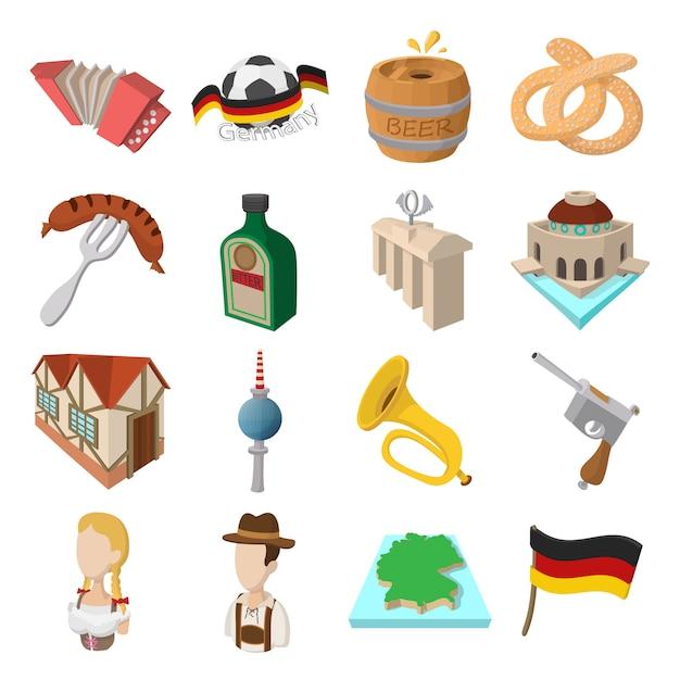 Deutschland-karikaturikonen stellten für netz und tragbare geräte ein Premium Vektoren