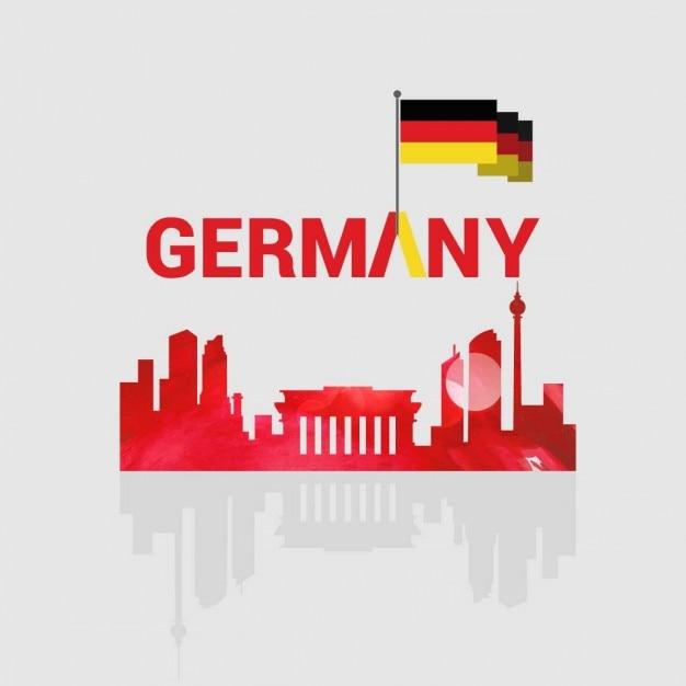 Deutschland kreative typografie mit land sehenswürdigkeiten Kostenlosen Vektoren
