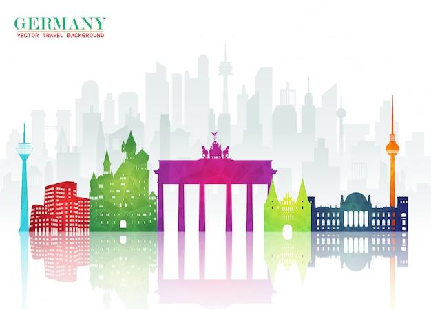 Deutschland landmark global travel and journey papier Premium Vektoren