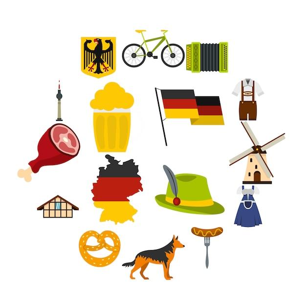 Deutschland legen sie flache symbole Premium Vektoren