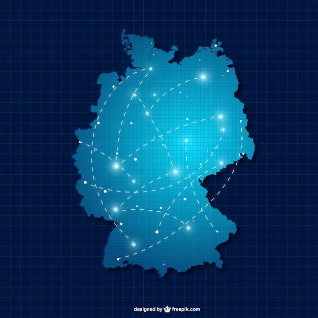 Deutschland Silhouette mit Verbindungen Kostenlose Vektoren