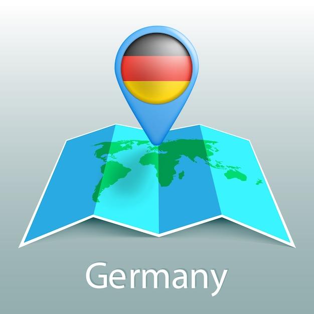 Deutschlandflaggen-weltkarte im stift mit dem namen des landes auf grauem hintergrund Premium Vektoren