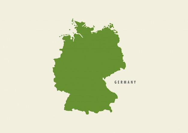 Deutschlandkartengrün lokalisiert auf weißem hintergrund Premium Vektoren