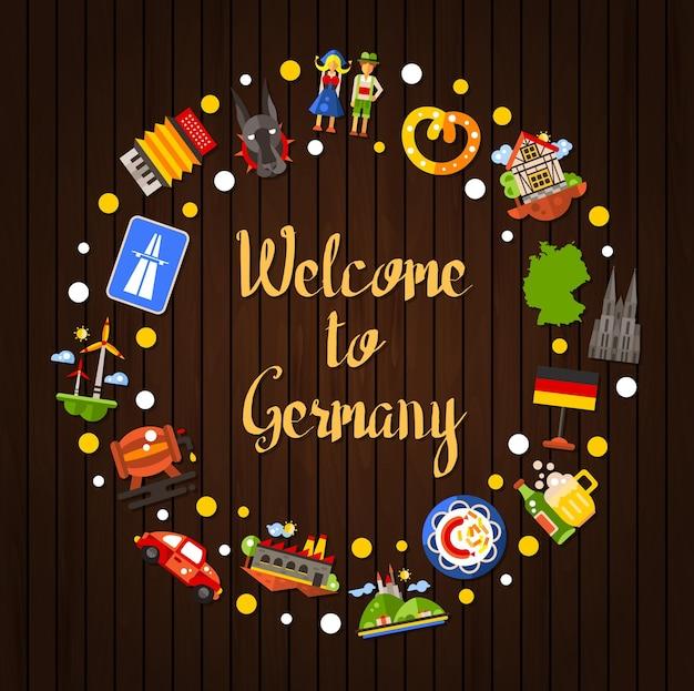 Deutschlandreisekreispostkarte mit berühmten deutschen symbolen Premium Vektoren