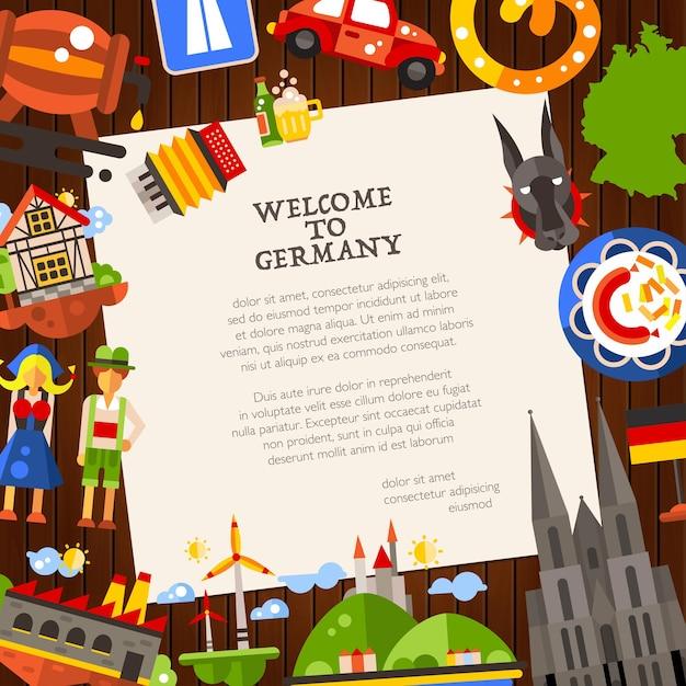 Deutschlandreisepostkartenschablone mit berühmten deutschen symbolen Premium Vektoren