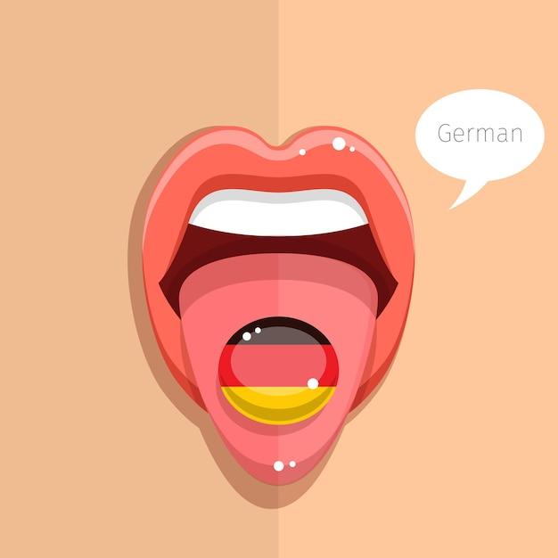 Deutschsprachiges konzept. deutscher sprachzunge offener mund mit deutscher flagge, frauengesicht. flache designillustration. Premium Vektoren