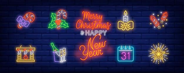 Dezember feiertagssymbole im neonstil gesetzt Kostenlosen Vektoren