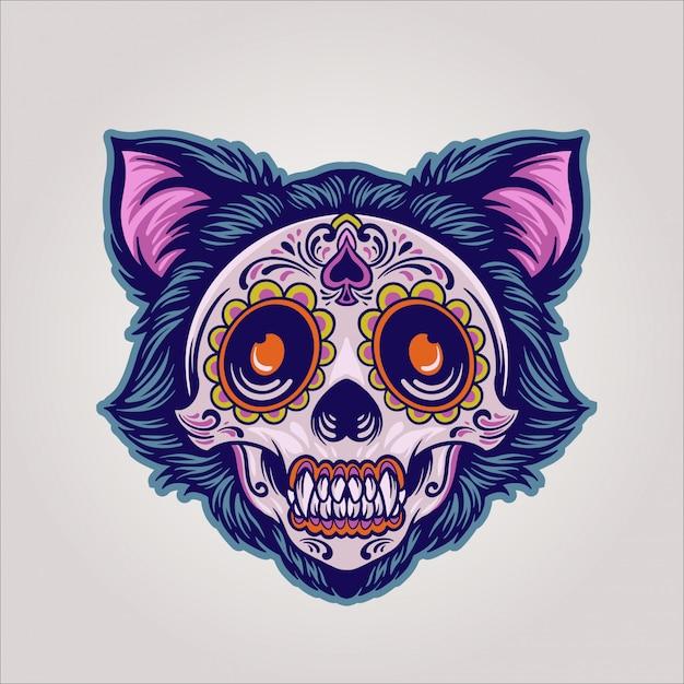 Dia de los muertos cat Premium Vektoren
