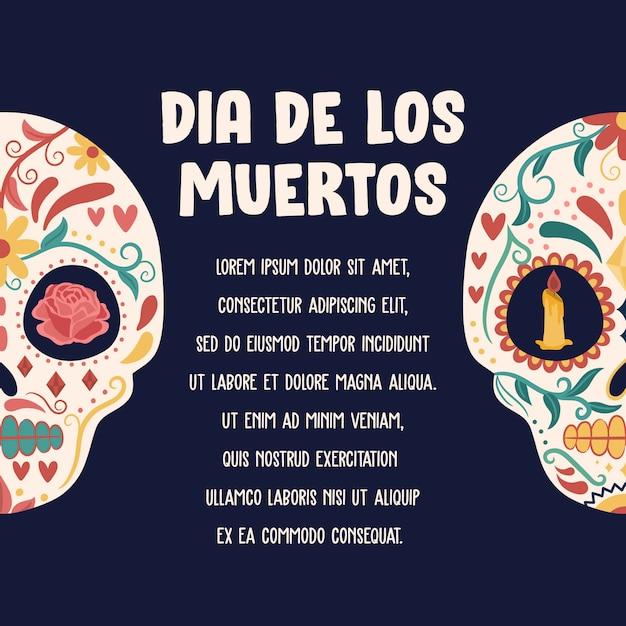 Día de los muertos-hintergrund mit dem bunten schädel Premium Vektoren