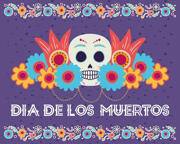 Dia de los muertos karte mit kopf schädel und blumen Premium Vektoren