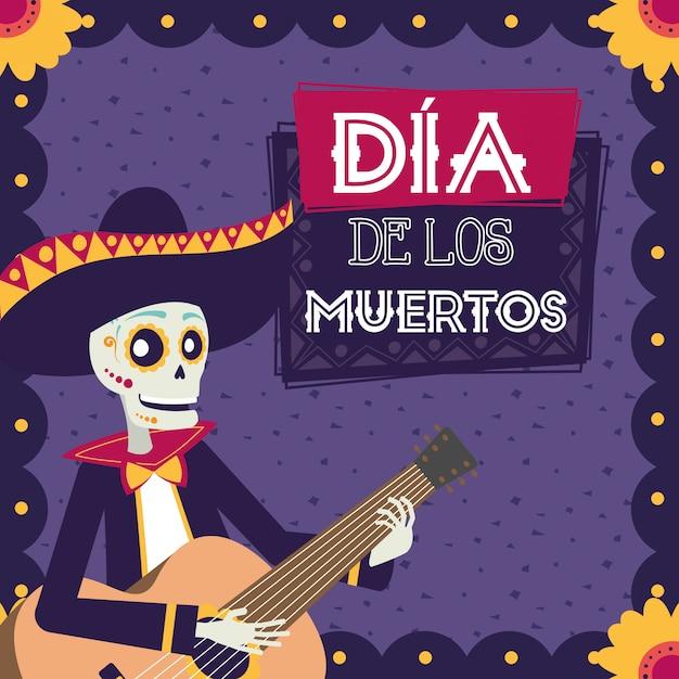 Dia de los muertos karte mit mariachi schädel gitarre spielen Premium Vektoren