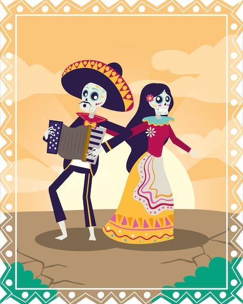 Dia de los muertos karte mit mariachi spielt akkordeon und catrina Premium Vektoren