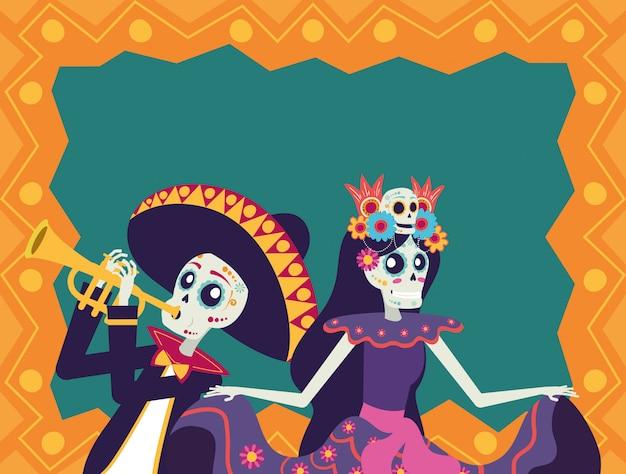Dia de los muertos karte mit mariachi spielt trompete und catrina Premium Vektoren