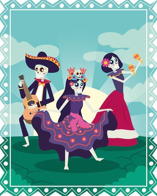 Dia de los muertos karte mit mariachi und catrinas schädel Premium Vektoren