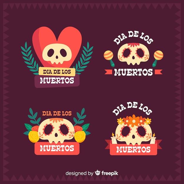 Día de muertos abzeichen sammlung mit mexikanischen schädel Kostenlosen Vektoren