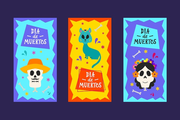Dia de muertos banner in flachem design Kostenlosen Vektoren