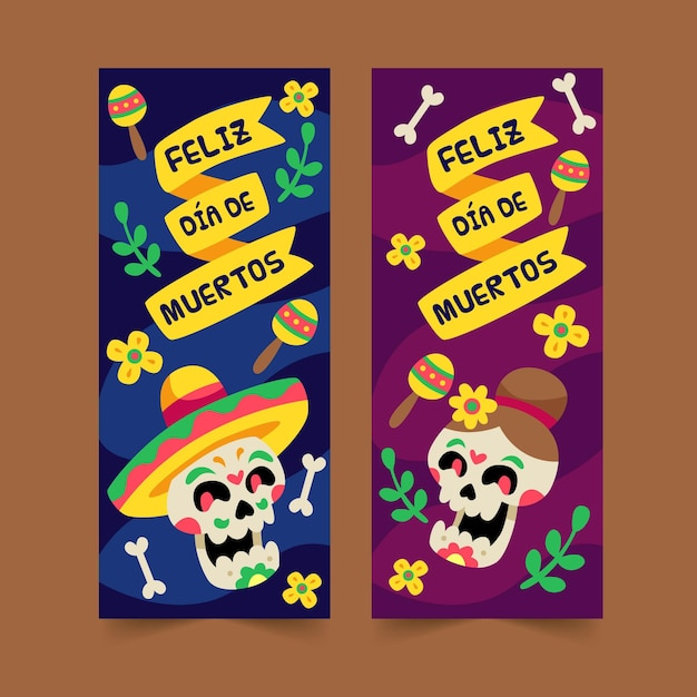Dia de muertos flache design-banner-vorlage Kostenlosen Vektoren