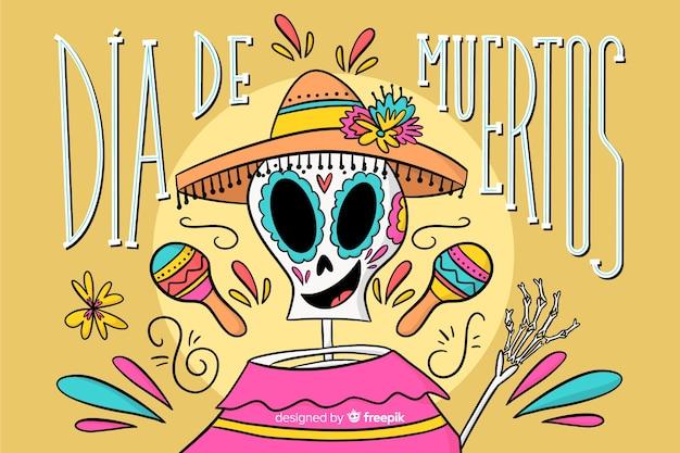 Dia de muertos hand gezeichneten hintergrund Kostenlosen Vektoren