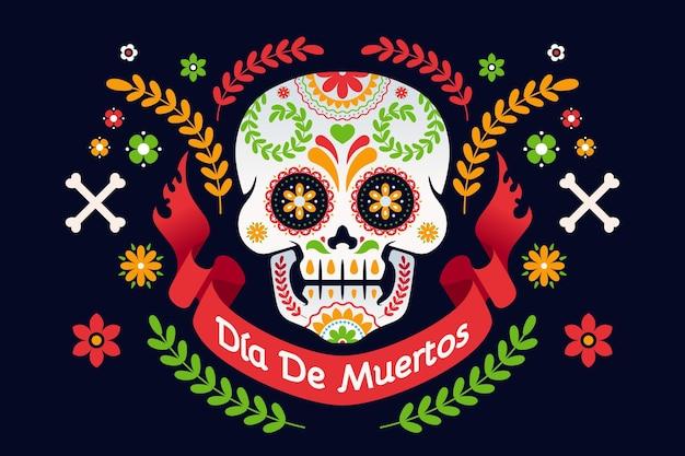 Día de muertos hintergrund im flachen design Kostenlosen Vektoren