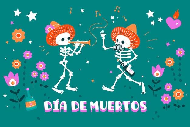 Día de muertos hintergrund im flachen design Premium Vektoren