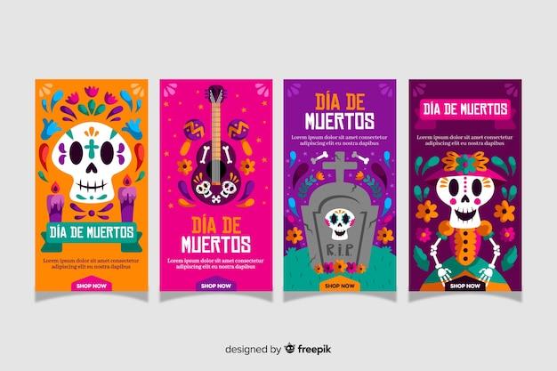 Día de muertos instagram geschichten sammlung Kostenlosen Vektoren