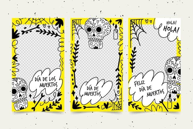Dia de muertos instagram geschichten sammlung Kostenlosen Vektoren
