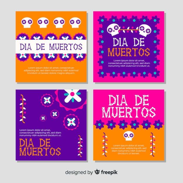 Día de muertos instagram post collection Kostenlosen Vektoren