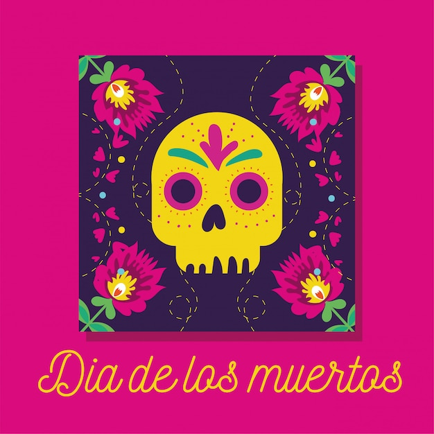 Dia de muertos karte mit schriftzug und totenkopf Kostenlosen Vektoren