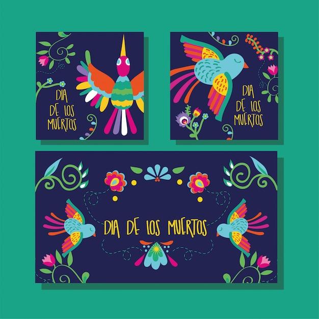 Dia de muertos kartenbeschriftung mit vögeln und blumen Kostenlosen Vektoren