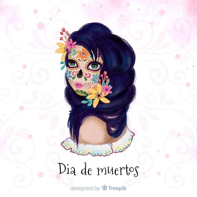 Dia de muertos-konzept mit aquarellhintergrund Kostenlosen Vektoren