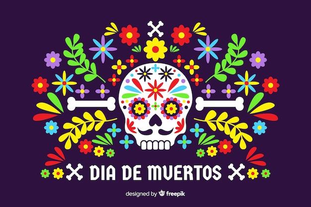 Dia de muertos-konzept mit flachem designhintergrund Kostenlosen Vektoren