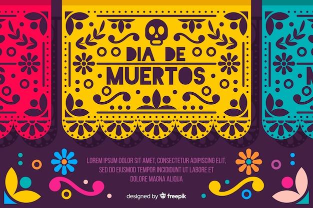 Día de muertos-konzept mit flachem designhintergrund Kostenlosen Vektoren