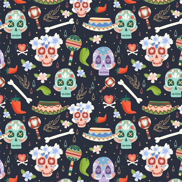 Dia de muertos muster im flachen design Kostenlosen Vektoren