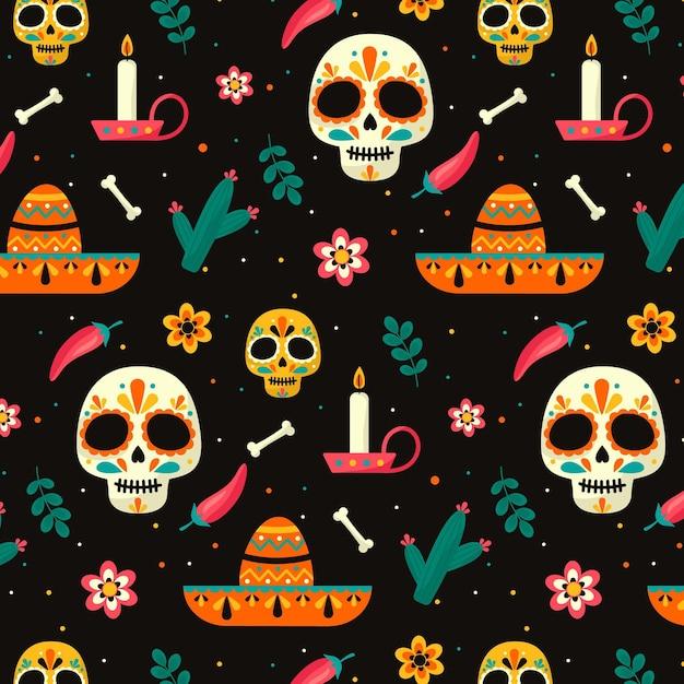 Día de muertos muster im flachen design Premium Vektoren