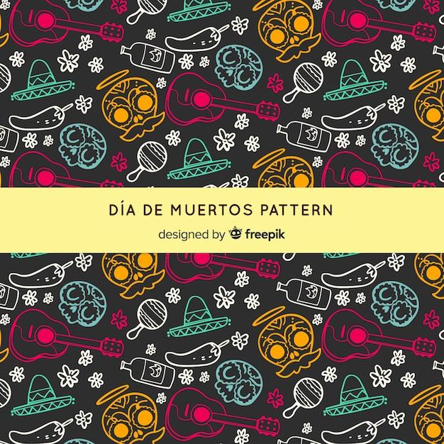 Día de muertos-muster mit hand gezeichneten elementen Kostenlosen Vektoren