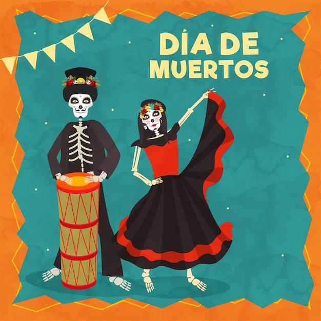 Dia de muertos-text mit illustration des schlagzeugers catrina und des skeleton mannes anlässlich des tages der toten feier. Premium Vektoren