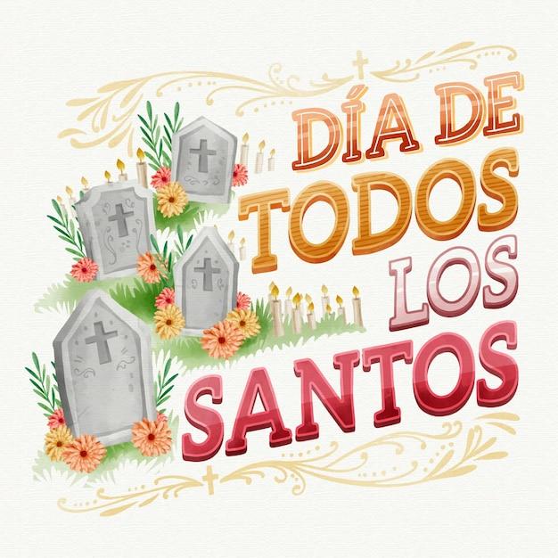 Día de todos los santos - schriftzug Kostenlosen Vektoren