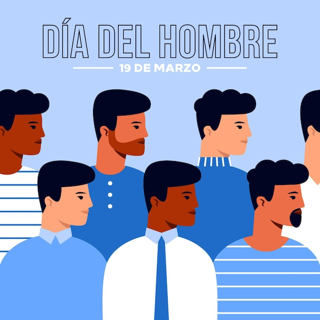 Dia del hombre illustration im flachen design Kostenlosen Vektoren
