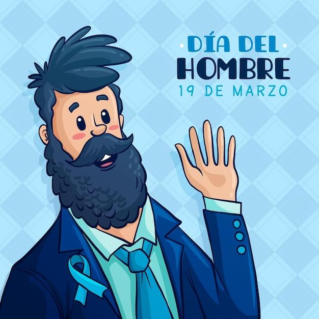 Dia del hombre illustration mit bärtigem mann winkend Kostenlosen Vektoren